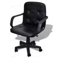 5 Wheels Classic Modern Leather Mix Office Chair 360 Degrees Swiveling Black Office Chairs WIith Adjustable Rocking Mechanism