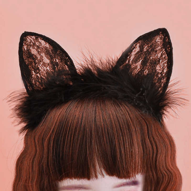 Sıcak Satış 2019 Yeni 1 ADET Güzel Kızlar Tüy Dantel Kedi Kulak Hairband Kadınlar Kızlar Noel Cosplay Seksi Headbands Şapkalar