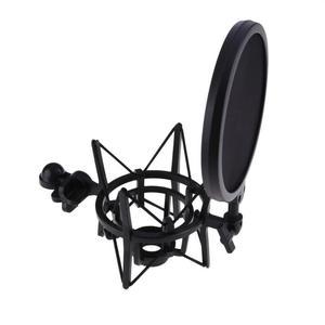 Image 2 - מקצועי מיקרופון מיקרופון הלם הר עם מגן מסנן מסך מיקרופון הלם הר מחזיק סוגר לגדול סרעפת מיקרופון
