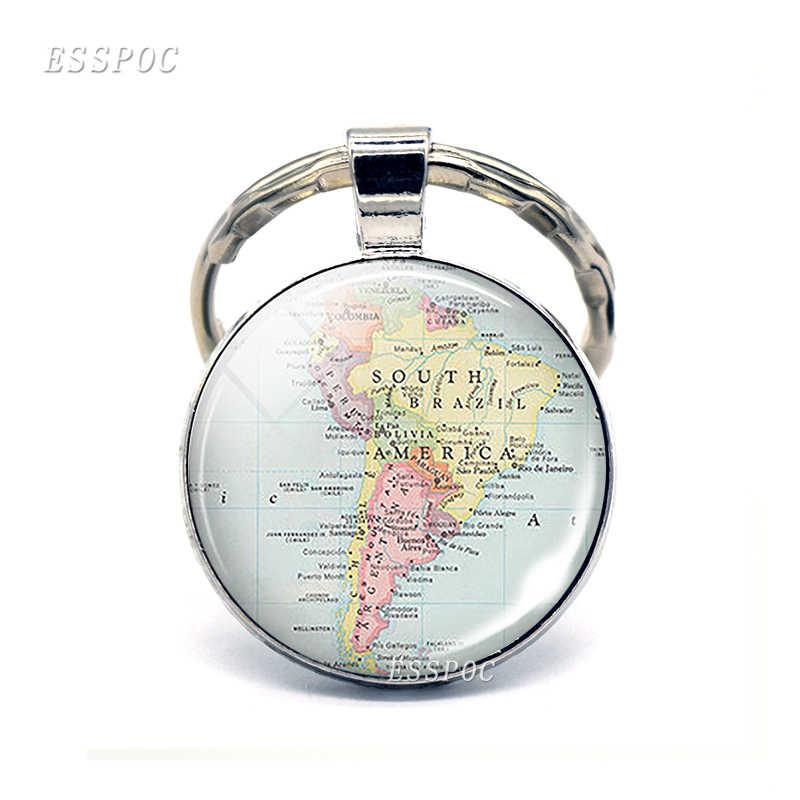 מפת עולם Vintage זכוכית קרושון KeyChain דרום אמריקה אוסטרליה אפריקה אנטארקטיקה אירופה תליון מפתח שרשרת טבעות אופנה מתנות