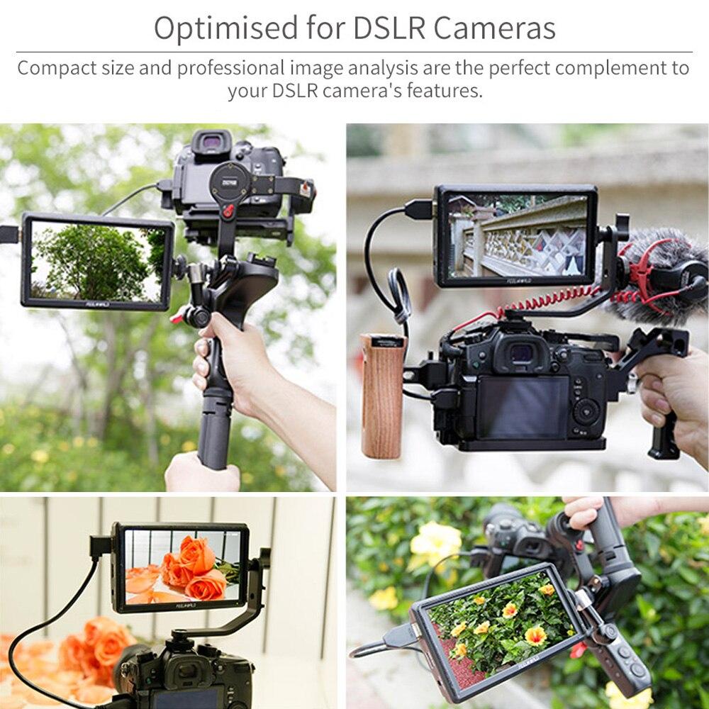 FEELWORLD FW568 5,5 pulgadas DSLR Cámara Monitor de campo 4K HDMI Full HD 1920x1080 LCD IPS salida de CC Enfoque de vídeo asistencia para cámaras - 6