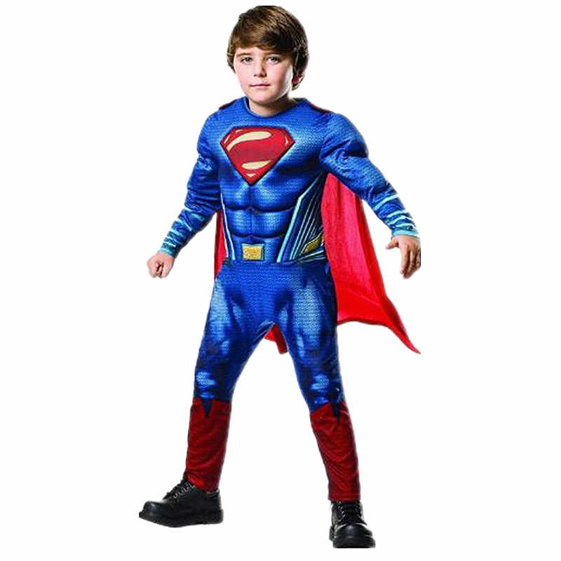 Boy New Superman Muscle Costume Super Hero Cosplay Costume Children Movie Fantasy Party Makeup Halloween Carnival One Piece