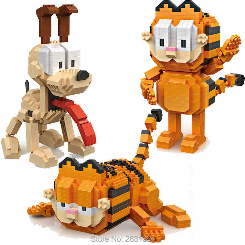 LOZ blokken Kawaii movie cartoon kat hond dier Odie Garfield plastic bouwstenen actiefiguren educatief speelgoed 9757 9758
