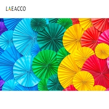 Laeacco Colorful Paper Flowers Umbrella Baby Portrait Photography Backgrounds Customized Photographic Backdrops For Photo Studio