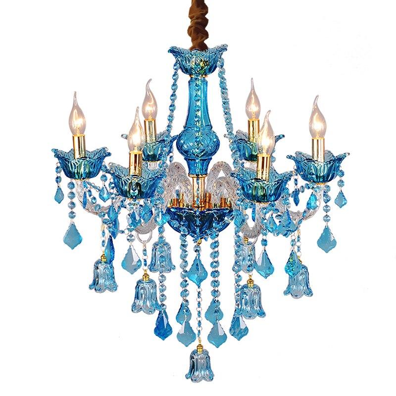 Itali vintaj biru kristal Chandelier diketuai kafe Bar pencahayaan - Pencahayaan dalaman