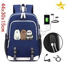 0074f7a9a6d720 Suncomics We Bare Bears Grizzly/Panda/Ice Bear Blue Backpack Anti Theft USB  Charging