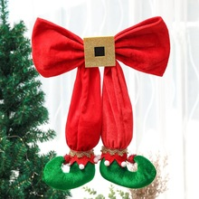 New Arrival Elf Foot Pendants Christmas Tree Topper Decoration Bowknots with Elf Boots Decorative Props for Xmas Home Decor