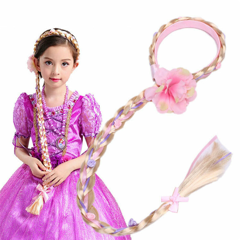 Pudcoco Blonde Cosplay Weaving Braid Tangled Rapunzel Princess Headband Hair Girl Wig