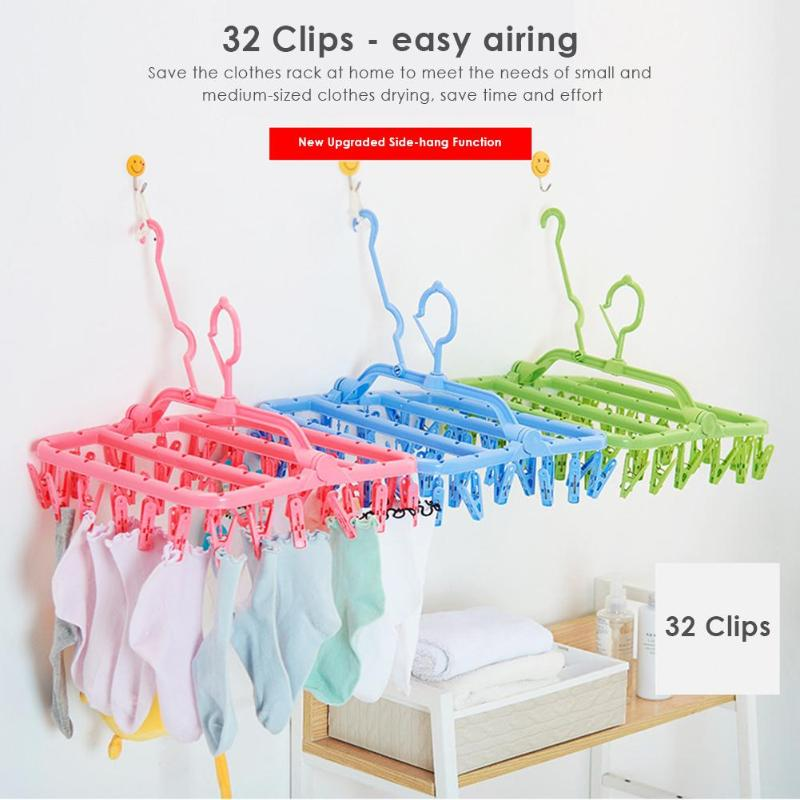 Plastic Folding Clothes Hanger Towels Socks Underwear Drying Rack With 32 Clips