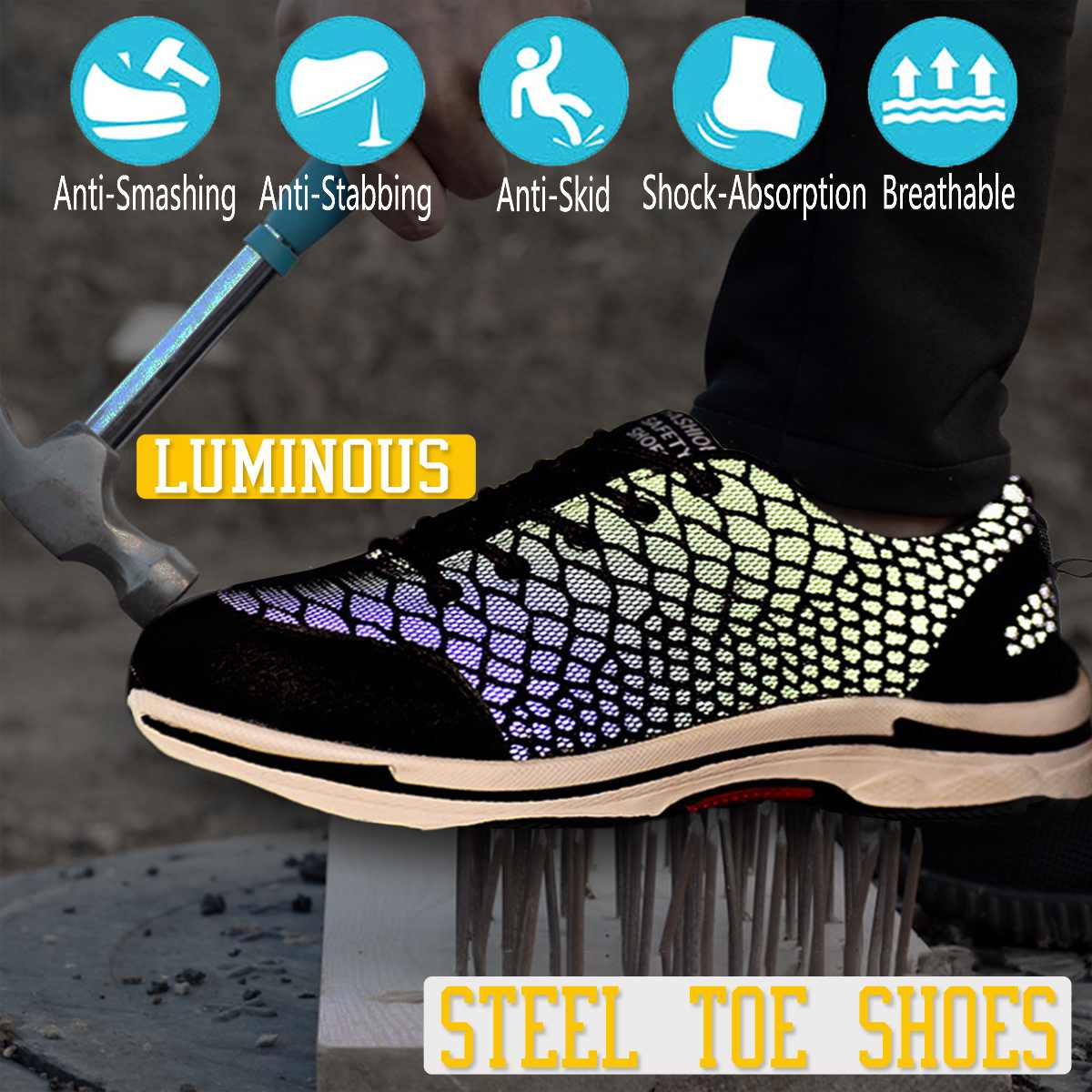 Mens Breathable Steel Toe Cap Work Safety Shoes Men Outdoor Anti-slip Steel Puncture Proof Construction Safety Boots ShoesMens Breathable Steel Toe Cap Work Safety Shoes Men Outdoor Anti-slip Steel Puncture Proof Construction Safety Boots Shoes