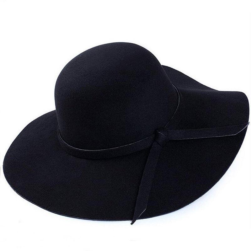 9c57b827131623 2018 New Fedoras Hot Sun Vintage Women's Floppy Bowknot Cloche Cap Wide  Brim Wool Felt Bowler
