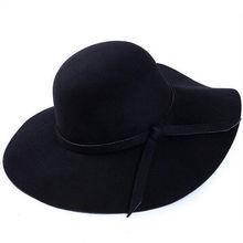 ¡Novedad de 2018! sombrero de fieltro de estilo Vintage para mujer, sombrero de fieltro de ala ancha, sombrero de fieltro de lana para mujer, sombrero de vacaciones al aire libre para mujer