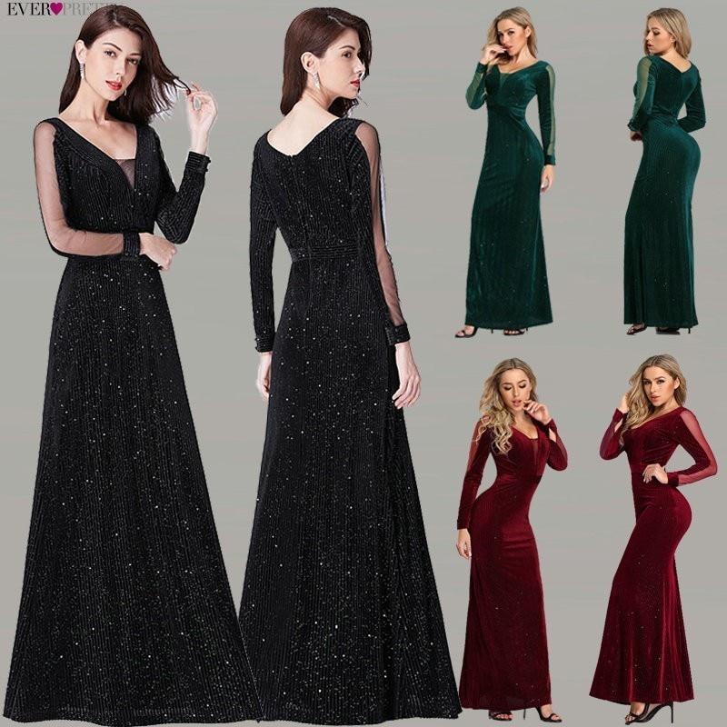 Черное вечернее платье с длинными рукавами Ever Pretty EP07394BK Элегантное Длинное официальное вечернее платье Русалочки De Soiree 2019