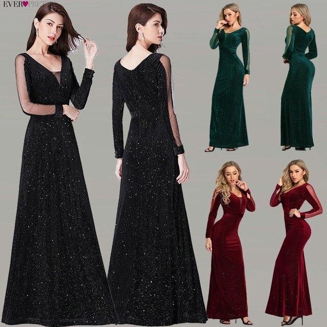 Черное вечернее платье с длинным рукавом Ever Pretty EP07394BK элегантное осеннее длинное вечернее платье Русалочки Robe De Soiree 2020