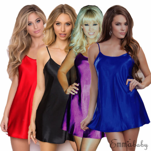 Sexy Lingerie Women Silk Robe Babydoll Nightdress Nightgown Sleepwear