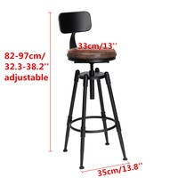 Industrial Retro Bar chair High Chair Bar Stool Iron leather Anti slip Adjustable 360 Rotate ergonomic backrest Bar Furniture