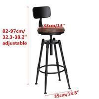 Industrial Retro Bar chair High Chair Bar Stool Iron leather Anti slip Adjustable 360 Rotate ergonomic backrest Bar Furniture