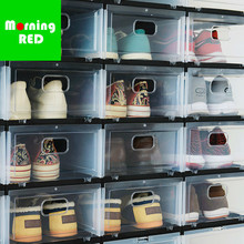 New Upgraded Thick Transparent Fashion Shoe Box Sneakers Organization Storage High Heeled Show Shoe Cabinet Home Storage