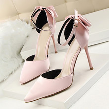 Sexy High Heels Pumps Shoes Fashion Pointed Toe Bowknot 2017 Newest Woman's Red Sandals Heels Shoes Party Wedding Shoes DS-A0051 fashion sweet women 10cm high heels pumps female sexy pointed toe black red stiletto high heels lady pink green shoes ds a0295