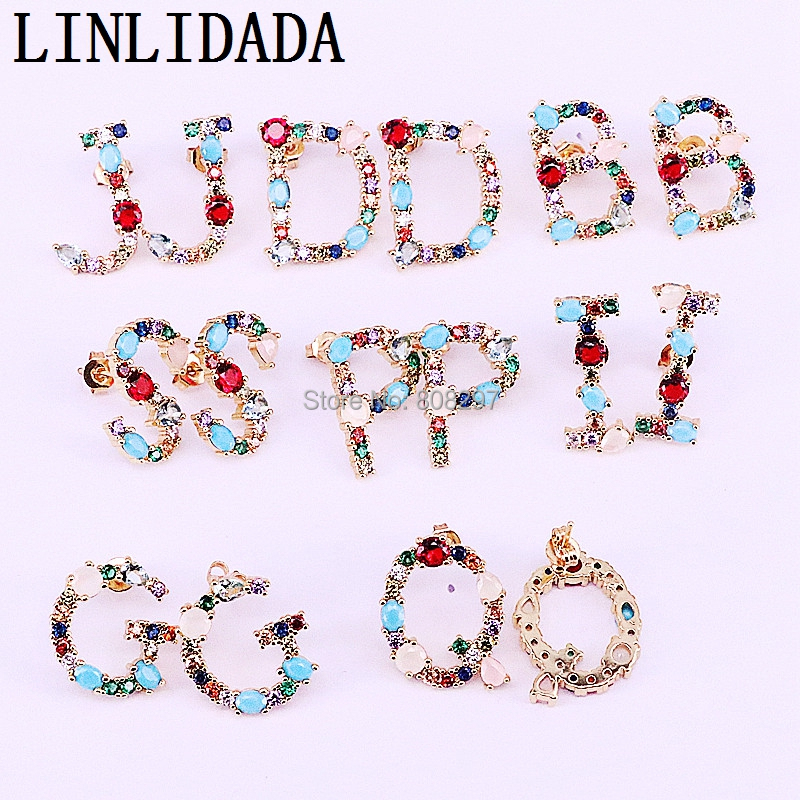 6Pair New Fashion Cubic Zirconia Stones Pave Setting 26 Alphabets Letter Stud Earrings Women Party Jewelry