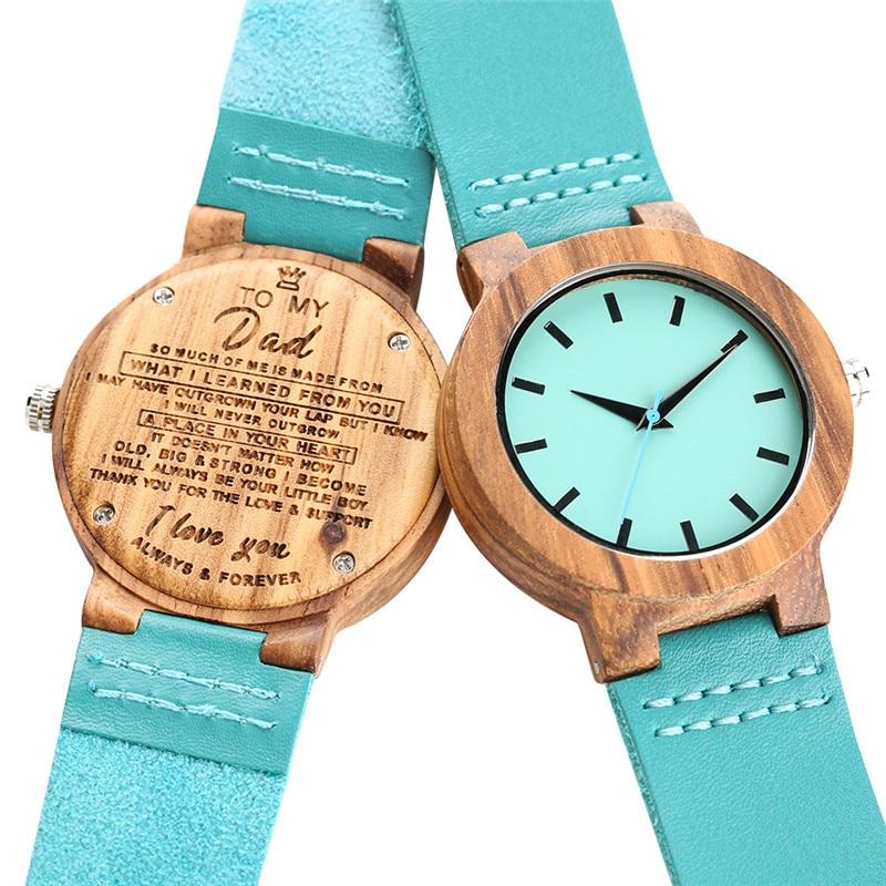 Clock Natural Handmade Wood Watch For Women Men Leather Band Strap Creative Quartz Watch Movement Wooden Watch Best Gift For Dad
