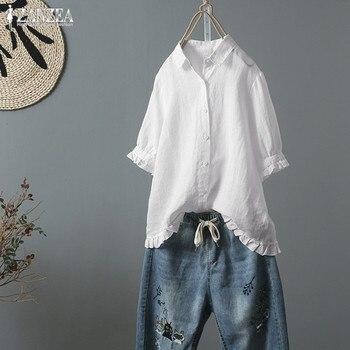 a4fd31fe7 Camiseta volante ZANZEA 2019 blusa de las mujeres de verano Mujer botón  camisa camisas de lino Vintage Blusas de manga mitad Plus tamaño vestido  túnica ...