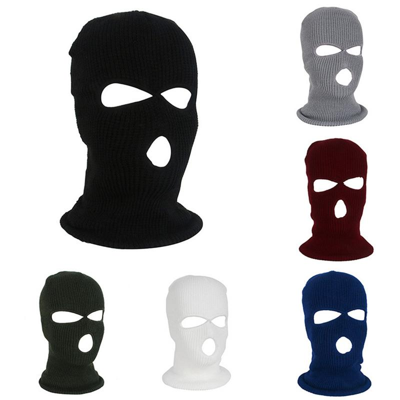 Mask Balaclava Warm-Face-Masks Full-Face-Cover Winter Three 3-Hole Hat Stretch Knit