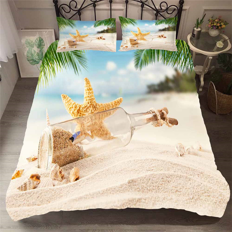 Bedding Set 3D Printed Duvet Cover Bed Set Beach Starfish Home Textiles For Adults Lifelike Bedclothes With Pillowcase HL11