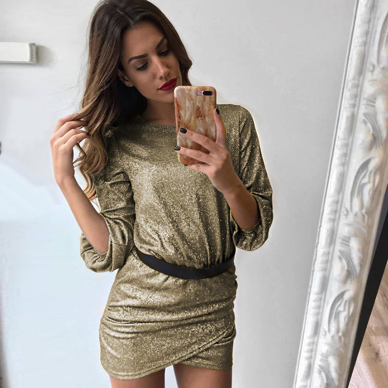 2019 Spring Sequin Mini Dress For Women Round Neck Long Sleeves Solid Cross Nightclub Party Dresses Fashion Streetwear Vestidos