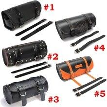 Motocicleta Universal alforjas de cuero de almacenamiento de la bolsa de  herramientas frente bolsa de equipaje para Harley David. 73f6469888f0