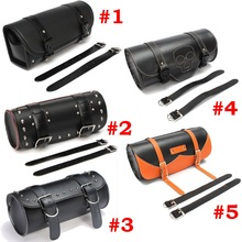 Universal Motorcycle Saddlebags Leather Side Storage Tool Pouch Front Luggage