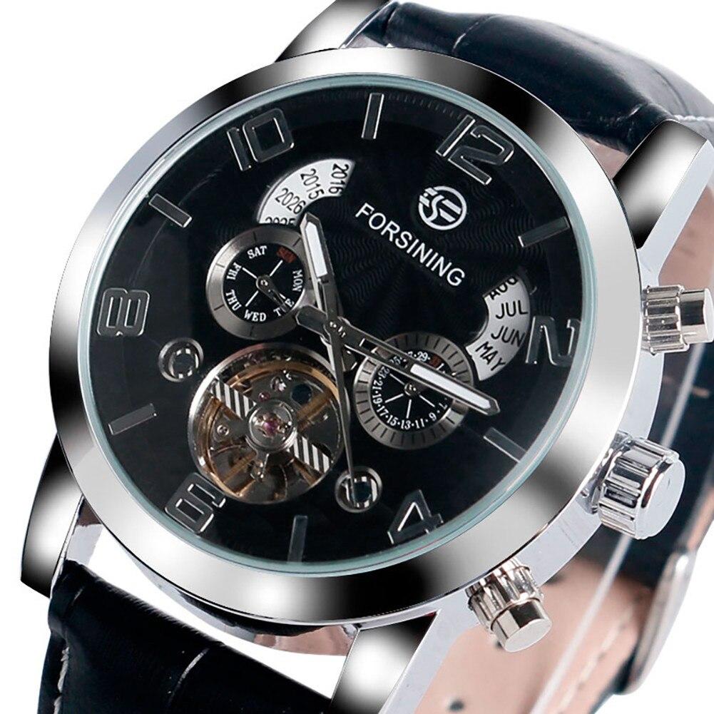 Homme squelette automatique auto-vent mécanique montre-bracelet affaires cadran noir chiffres arabes échelle en acier inoxydable montres homme