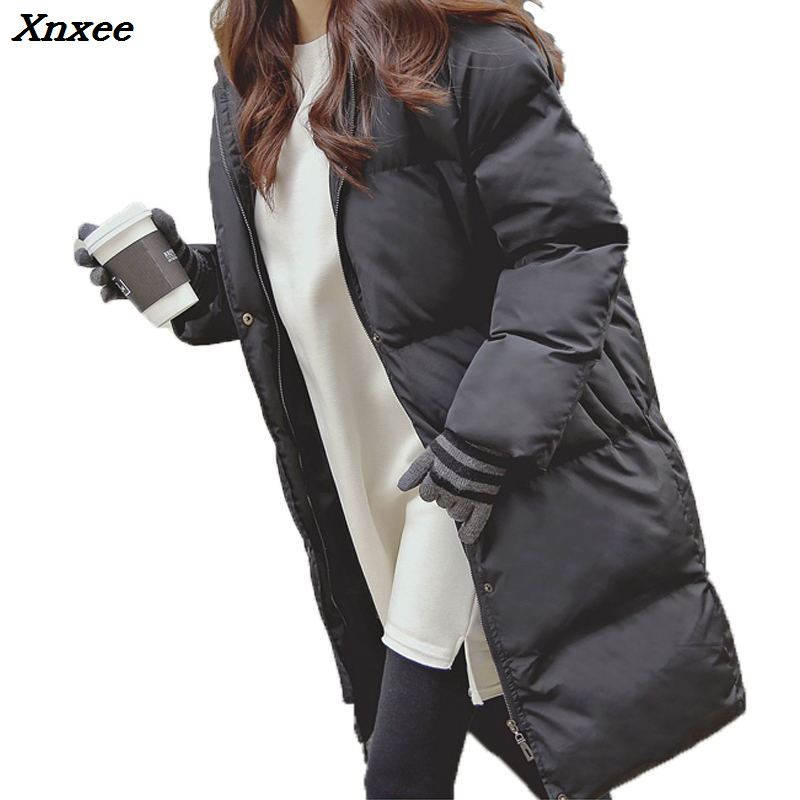 2018 Black Warm Hooded Cotton Long   Parka   Plus Size Winter Jacket Women Coat Thick Cotton Loose Padded Wadded Inverno Casaco