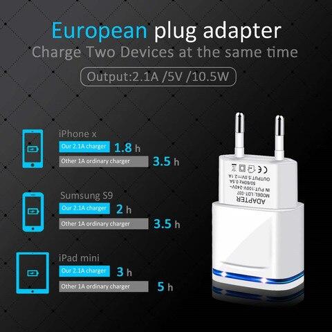 5V 2A EU Plug LED Light 2 USB Adapter Mobile Phone Wall Charger Device Micro Data Fast Charging For iPhone 5 6 iPad Samsung Karachi