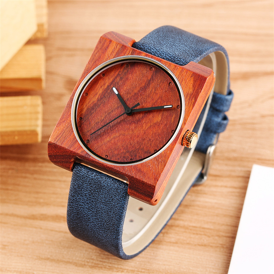 Wood Watch Wrist Ultra-Light Minimalist Elegant Red Genuine-Leather Womens Clock Quartz title=