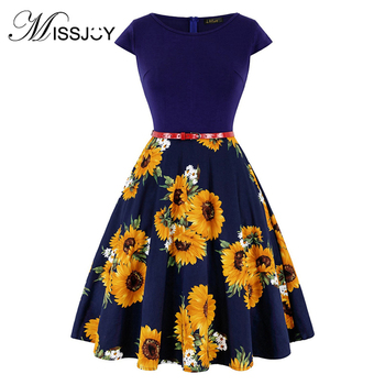 MISSJOY Plus size 4XL Dress kleding vrouwen Vintage Elegant Cap Sleeve Lemon Flower Print pin up fashionable dresses kerst jurk 2