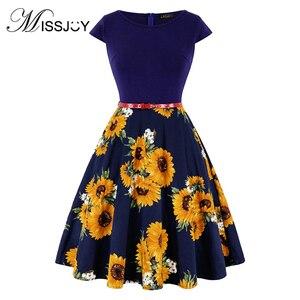 Image 2 - MISSJOY 4XL Большой летнее платье размер платье винтажное элегантное платье с коротким рукавом лимонный цветочный принт модные платья мода 2019 ретро платье хлопок женские платья women dress
