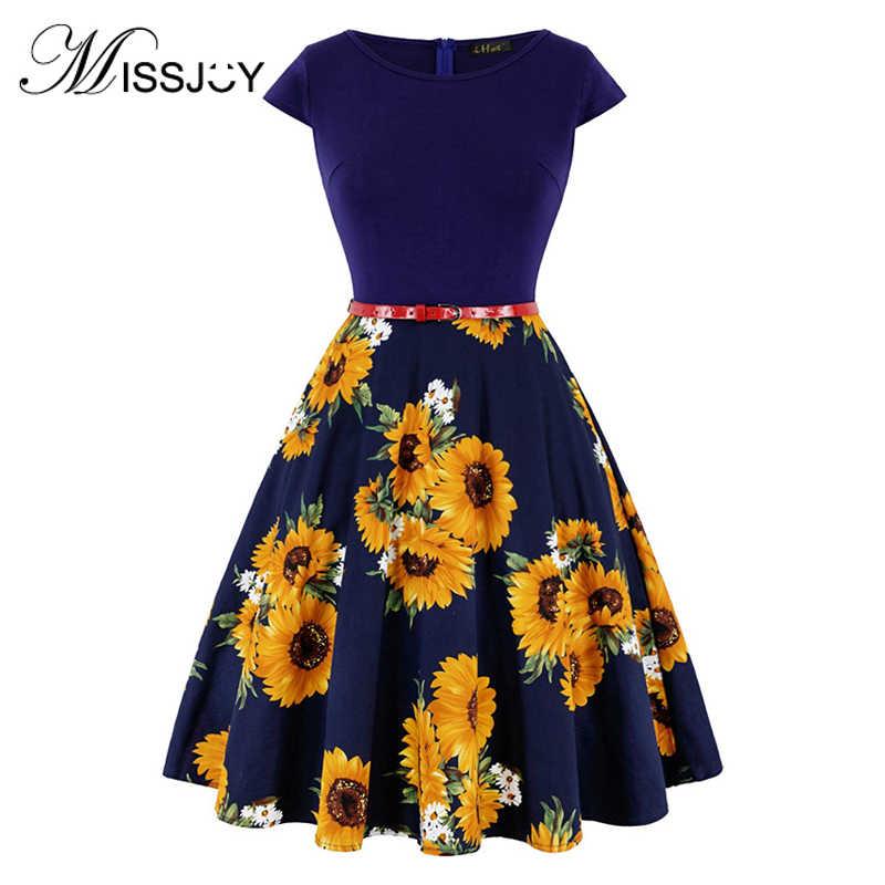 Missjoy Plus Ukuran 4XL Gaun Kleding Vrouwen Vintage Elegan Lengan Motif Lemon Bunga Cetak Pin Up Gaun Modis Kerst Jurk