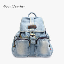 Casual Small Blue Denim Backpack with Cover High Quality Women Daily Backpacks for Travel 2colors Casual Jeans Bag