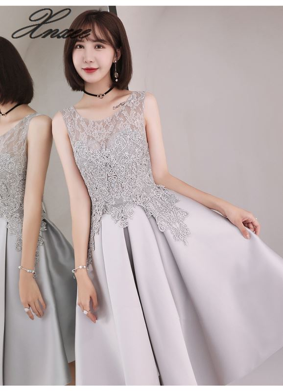 Dress 2019 new fashion gray short section was thin party dress women
