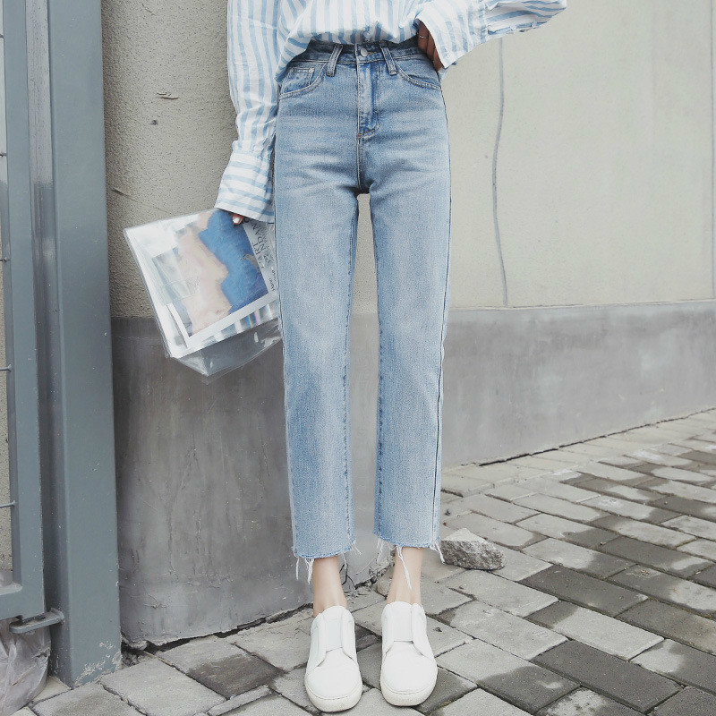 Ripped   Jeans   For Women Washed Denim Pants Spring Summer Casual High Waist Straight Pants Female Ankle Length   Jeans   Mujer