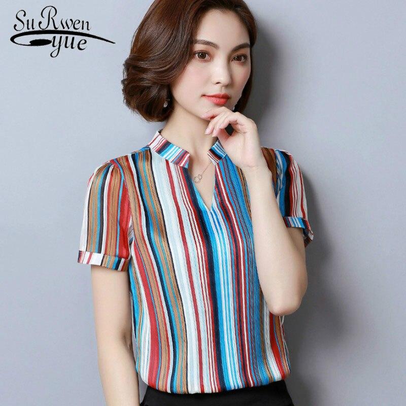 Fashion Chiffon Blouse Women's 2019 Short Sleeve Print Office Lady Women Shirts Causal Plus Size Womens Tops And Blouse 2065 50