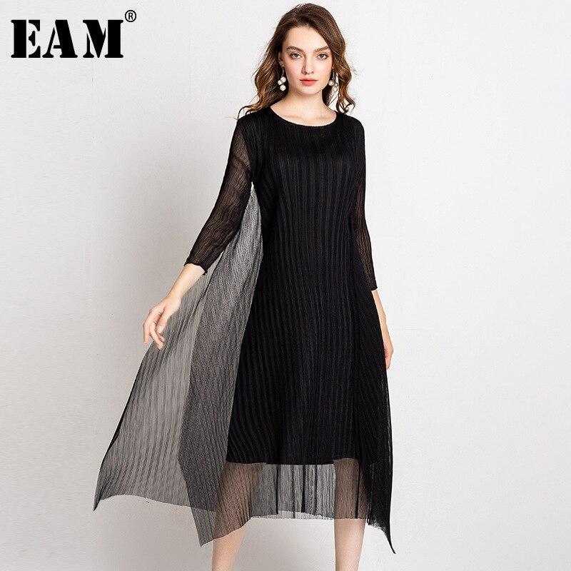 EAM 2019 New Spring Summer Round Neck Long Sleeve Black Mesh Split Joint Pleated Temperament