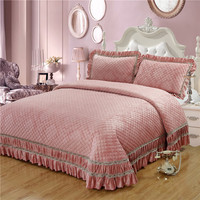 Pink Golden Brown Luxury European Style High Quality Jacquard Fleece fabric Thick Blanket Bedspread Bed sheet pillowcases 3pcs32