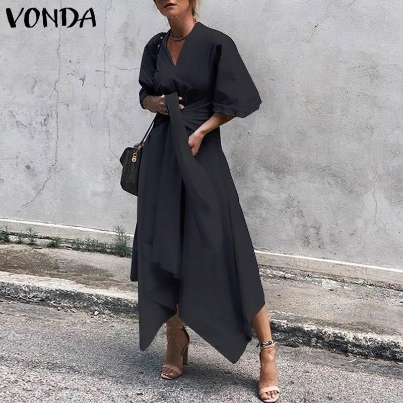 VONDA 2019 Summer Dress Vintage Long Maxi Dress Women Short Sleeve Sexy V Neck Asymmetrical High Waist Party Vestidos Plus Size 1