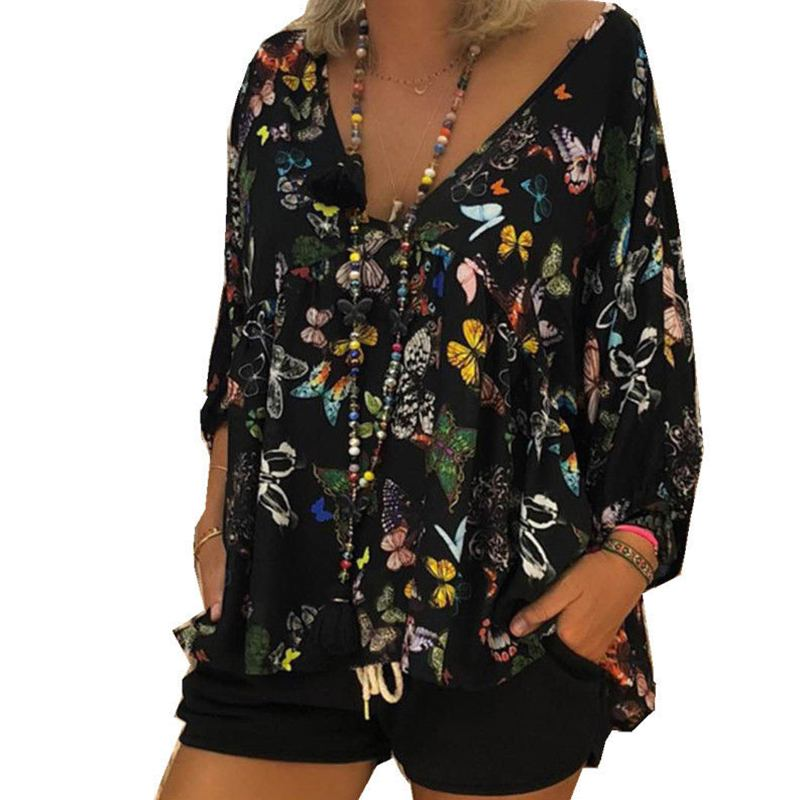 Plus Size Women Floral Blouse 2019 Spring Sexy V Neck Casual Blusa Boho Ladies Long Sleeve Tee Shirts Female Autumn Party Tops