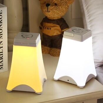 Xách tay LED Ánh Sáng Ban Đêm USB Sạc Hình Dạng Tháp Bảng Đèn Cảm Ứng Cảm Biến Thay Đổi Độ Sáng Đèn Cạnh Giường Ngủ Tự Động tắt Hẹn Giờ