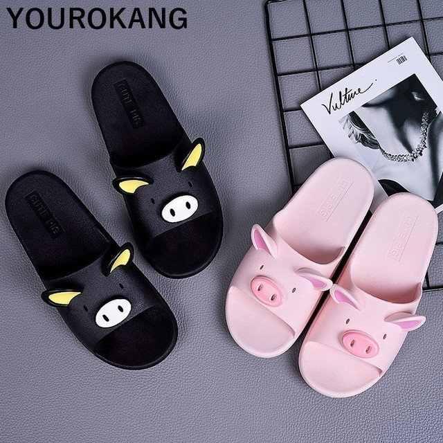 Summer Couple Shoes Home Slippers Cute Indoor Non-slip Bathroom Slippers For Lovers Pig Cartoon Women Slippers Lovely Household 5