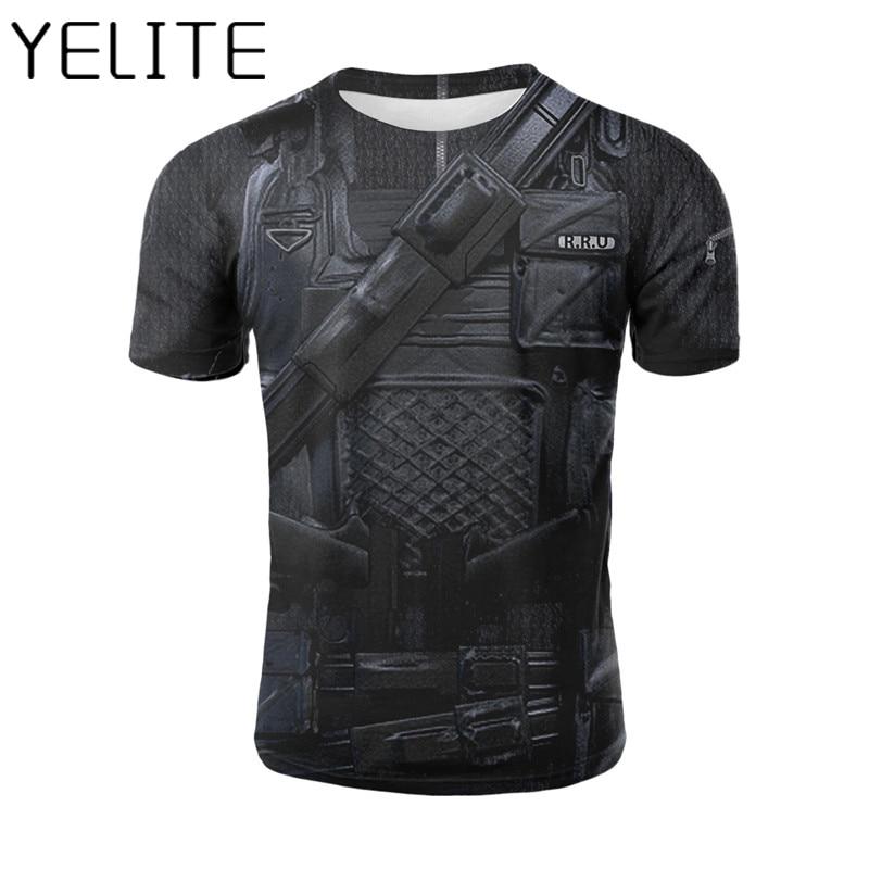 ea08654ba77c YELITE Body Armor T Shirt Warrior Armour Tshirt Fake Uniform Armour Print T- Shirt Summer