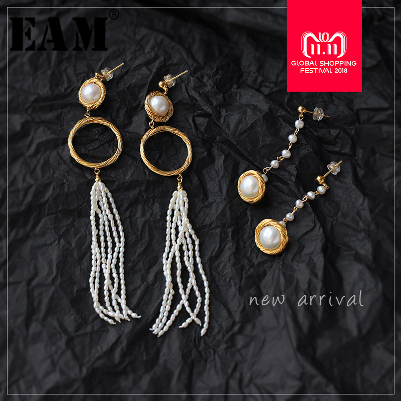 WKOUD EAM Jewelry / 2018 New Fashion Temperament Long Tassel Natural Baroque Pearl Earrings Women's Accessories S#R1246 fashion silver needle natural freshwater pearl stars in baroque long earrings eardrop fashion temperament